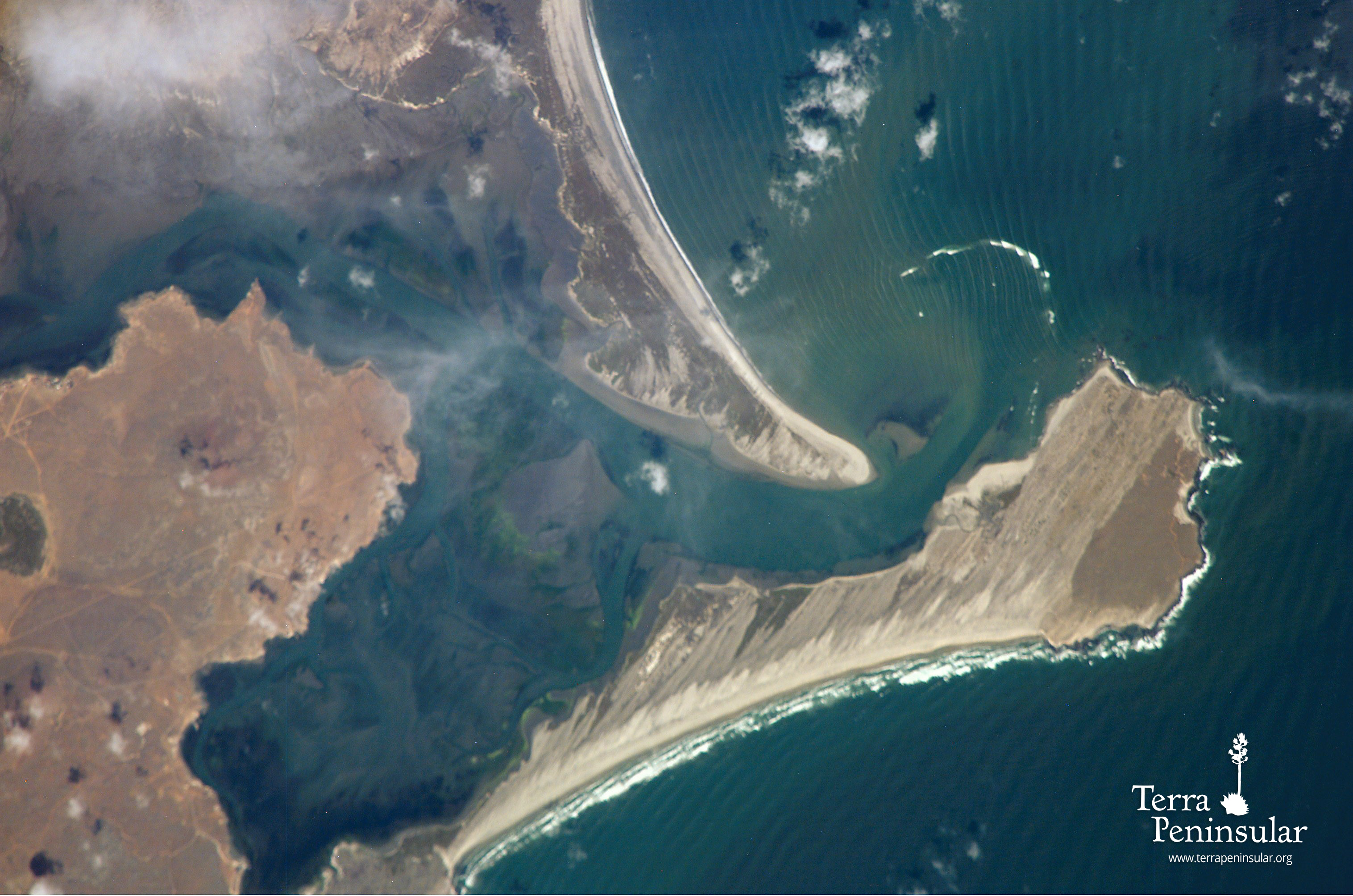 Bahía San Quintín seen from the Space Shuttle. Punta Mazo is below, and Punta Azufre at the top.