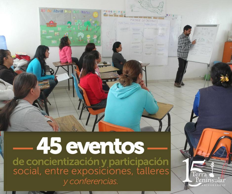 Realizamos 45 eventos de concientización y participación social, entre exposiciones, talleres y conferencias.