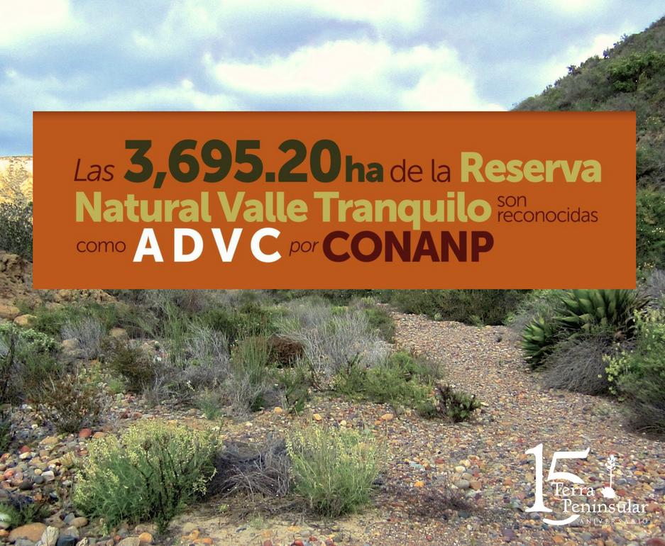 Las 3 695.20 hectáreas de la Reserva Natural Valle Tranquilo son reconocidas como Área Destinada Voluntariamente a la Conservación (ADVC) por CONANP.