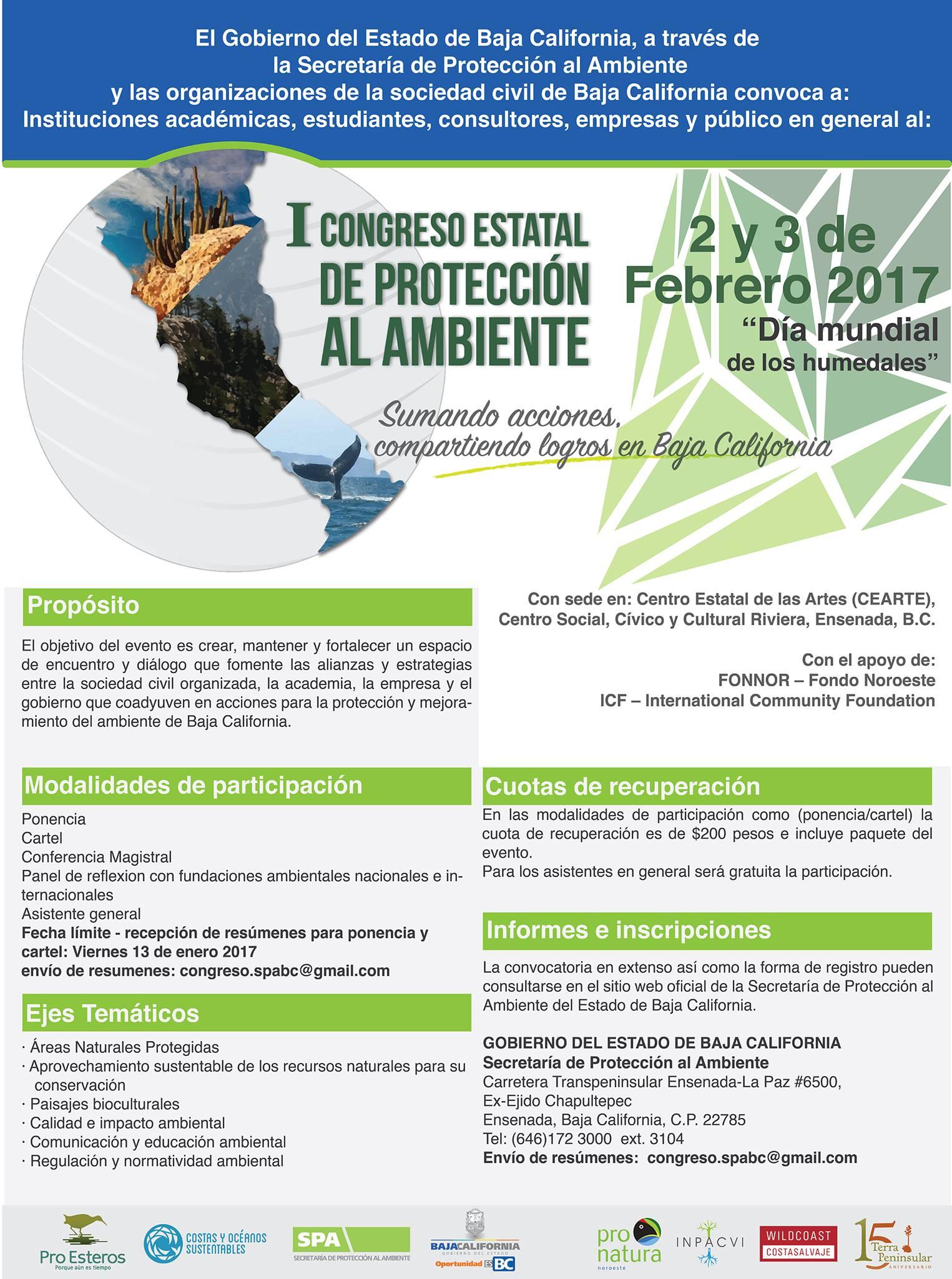 Convocatoria I Congreso Estatal de Protección al Ambiente 2016
