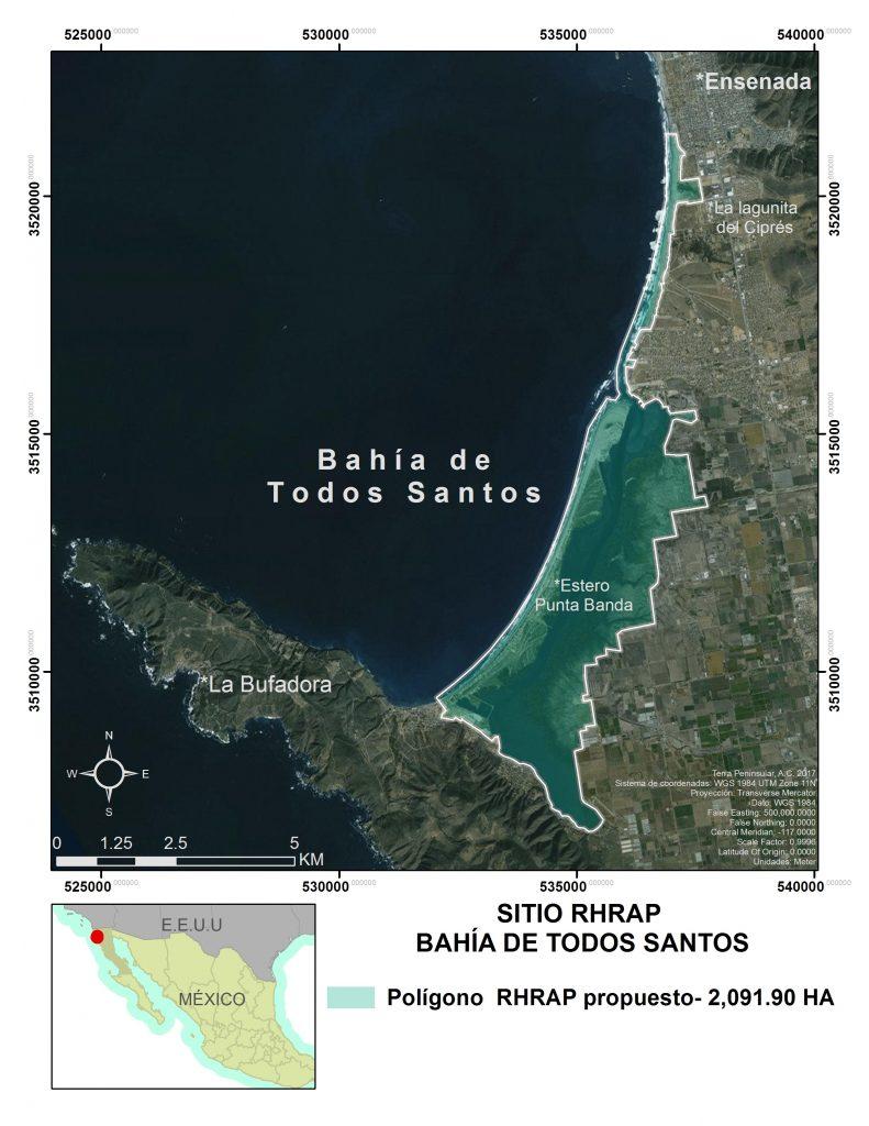 Mapa Bahía de Todos Santos sitio RHRAP